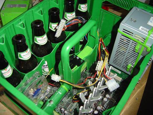 Heineken beer case - the inside with computer